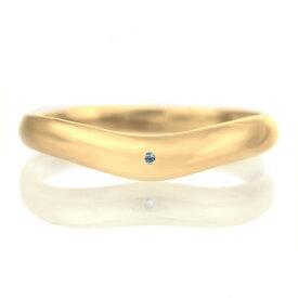 結婚指輪 マリッジリング 18金 ゴールド つや消し マット 甲丸 V字 天然石 ブルートパーズ【楽ギフ_包装】