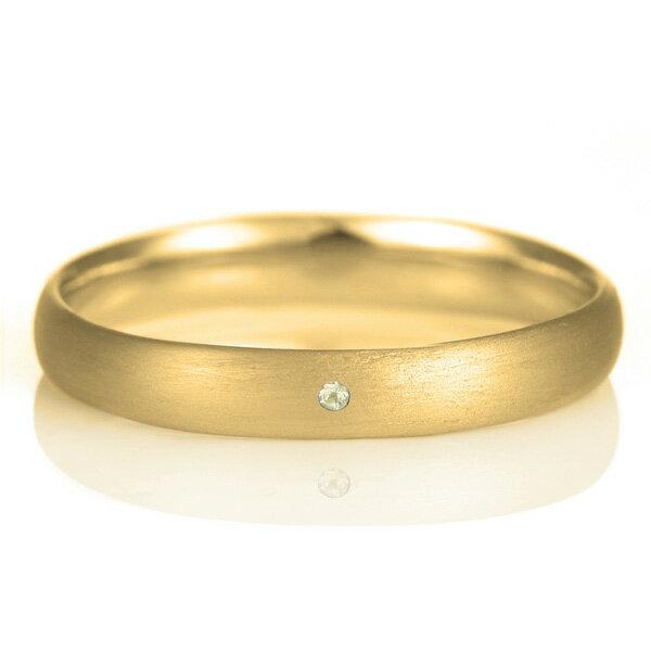 結婚指輪 マリッジリング 18金 ゴールド つや消し マット 甲丸 天然石 ペリドット【楽ギフ_包装】