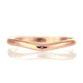 結婚指輪 マリッジリング 18金 ピンクゴールド 甲丸 V字 天然石 アメジスト【楽ギフ_包装】 末広 楽天スーパーSALE