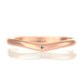 結婚指輪 マリッジリング 18金 ピンクゴールド つや消し マット 甲丸 V字 天然石 ブルートパーズ【楽ギフ_包装】