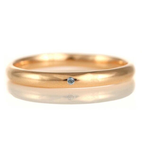 結婚指輪 マリッジリング 18金 ピンクゴールド 甲丸 天然石 ブルートパーズ【楽ギフ_包装】