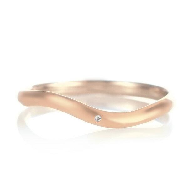 結婚指輪 マリッジリング 18金 ピンクゴールド つや消し マット 甲丸 ウエーブ 天然石 ムーンストーン【楽ギフ_包装】