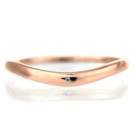 結婚指輪 マリッジリング 18金 ピンクゴールド 甲丸 V字 天然石 ブルートパーズ【楽ギフ_包装】