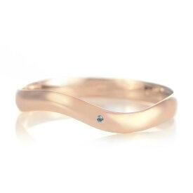 結婚指輪 マリッジリング 18金 ピンクゴールド つや消し マット 甲丸 ウエーブ 天然石 ブルートパーズ【楽ギフ_包装】