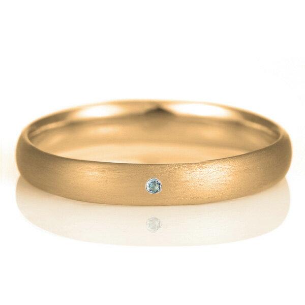 結婚指輪 マリッジリング 18金 ピンクゴールド つや消し マット 甲丸 天然石 アメジスト【楽ギフ_包装】