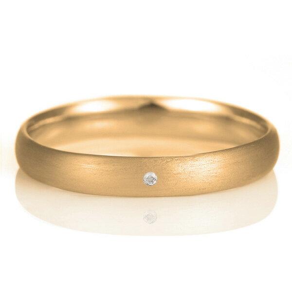 結婚指輪 マリッジリング 18金 ピンクゴールド つや消し マット 甲丸 天然石 エメラルド【楽ギフ_包装】