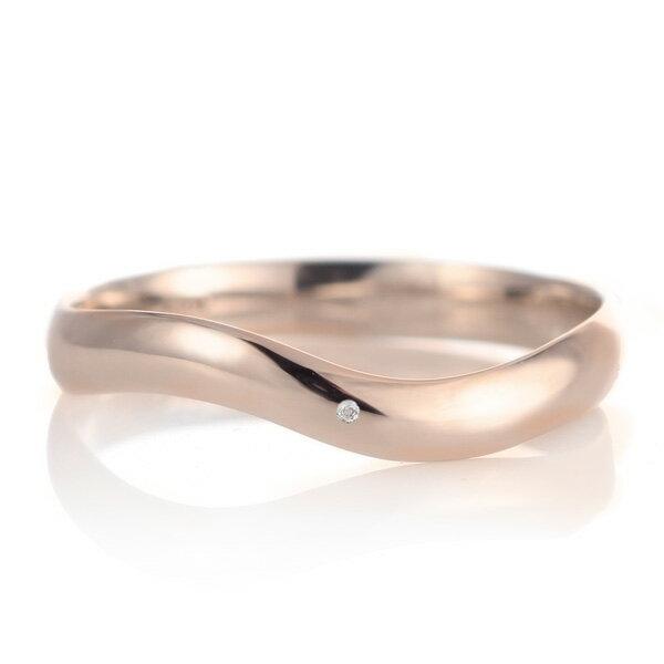 結婚指輪 マリッジリング 18金 ピンクゴールド 甲丸 ウエーブ 天然石 ムーンストーン【楽ギフ_包装】