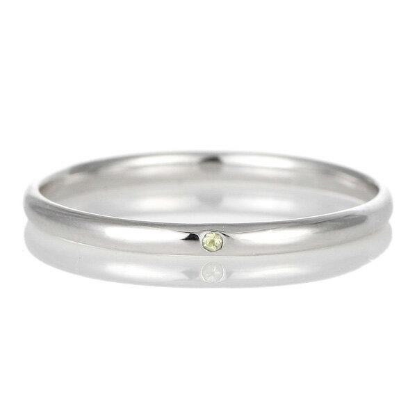 結婚指輪 マリッジリング プラチナ 甲丸 天然石 ペリドット【楽ギフ_包装】