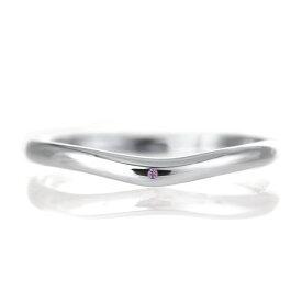 結婚指輪 マリッジリング プラチナ 甲丸 V字 天然石 アメジスト【楽ギフ_包装】 末広 楽天スーパーSALE