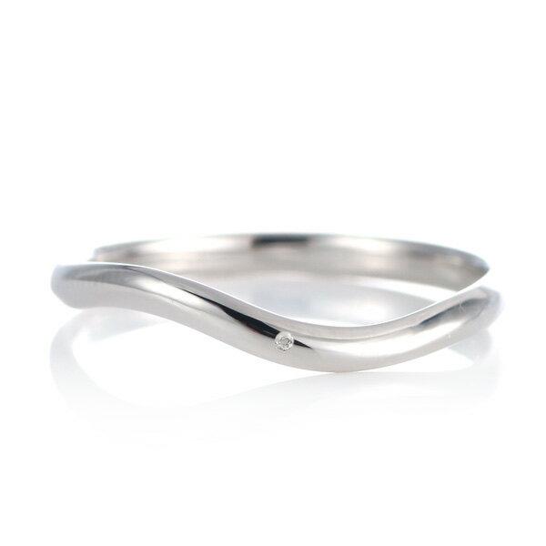 結婚指輪 マリッジリング プラチナ 甲丸 ウエーブ 天然石 ムーンストーン【楽ギフ_包装】