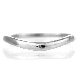 結婚指輪 マリッジリング プラチナ 甲丸 V字 天然石 ブルートパーズ【楽ギフ_包装】