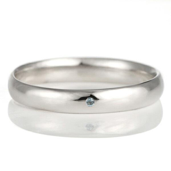 結婚指輪 マリッジリング プラチナ 甲丸 天然石 ブルートパーズ【楽ギフ_包装】