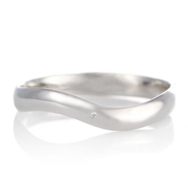 結婚指輪 マリッジリング プラチナ つや消し マット 甲丸 ウエーブ 天然石 ムーンストーン【楽ギフ_包装】