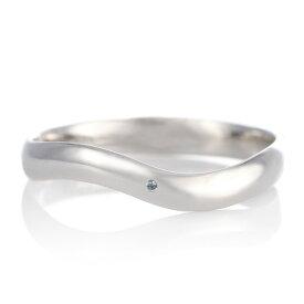 結婚指輪 マリッジリング プラチナ つや消し マット 甲丸 ウエーブ 天然石 ブルートパーズ【楽ギフ_包装】