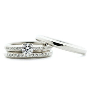 ( Brand Jewelry fresco ) プラチナ ダイヤモンドリング(婚約指輪・結婚指輪)エンゲージ マリッジ セット 3本【楽ギフ_包装】 末広 母の日【今だけ代引手数料無料】