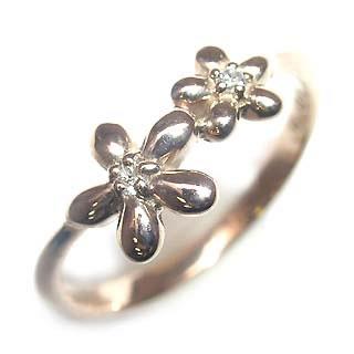 ( Brand Jewelry me. ) K18ピンクゴールドダイヤモンドピンキーリング(フラワーモチーフ)【楽ギフ_包装】【DEAL】