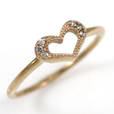 ( Brand Jewelry me. ) K18ピンクゴールドダイヤモンドピンキーリング(ハートモチーフ)【楽ギフ_包装】