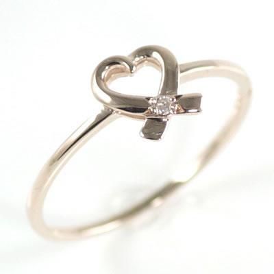 ( Brand Jewelry me. ) K10ピンクゴールドダイヤモンドリング(ハートモチーフ)【楽ギフ_包装】