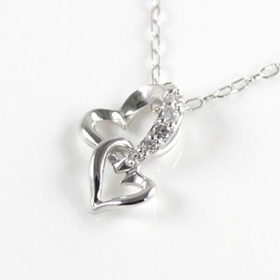 ( Brand Jewelry me. ) K10ホワイトゴールド ダイヤモンドペンダントネックレス(ハートモチーフ)【楽ギフ_包装】