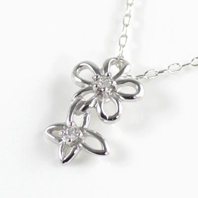 ( Brand Jewelry me. ) K10ホワイトゴールド ダイヤモンドペンダントネックレス(フラワーモチーフ)【楽ギフ_包装】