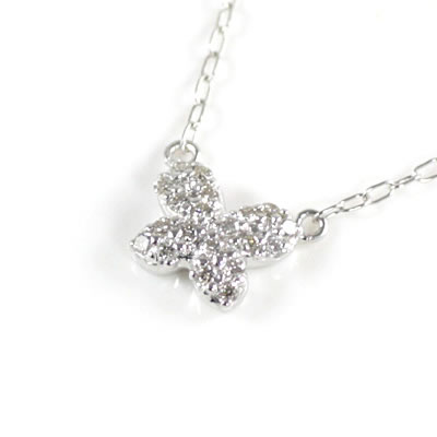 ( Brand Jewelry me. ) K10ホワイトゴールド ダイヤモンドペンダントネックレス(バタフライモチーフ)【楽ギフ_包装】