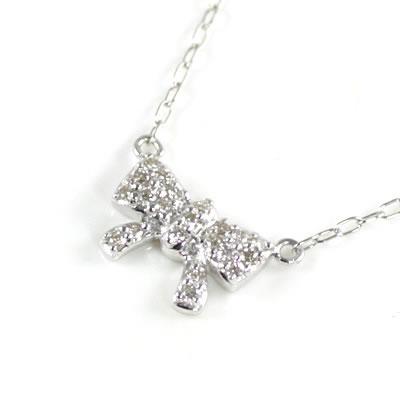 ( Brand Jewelry me. ) K10ホワイトゴールド ダイヤモンドペンダントネックレス(リボンモチーフ)【楽ギフ_包装】