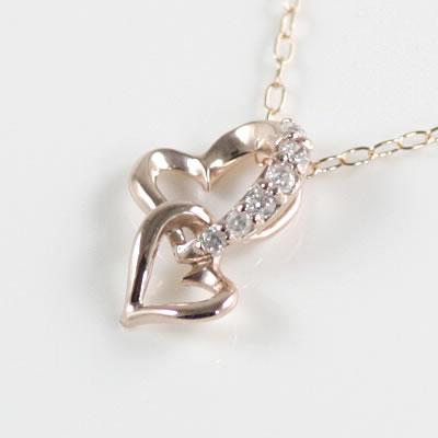 ( Brand Jewelry me. ) K10ピンクゴールド ダイヤモンドペンダントネックレス(ハートモチーフ)【楽ギフ_包装】
