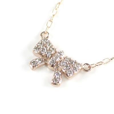 ( Brand Jewelry me. ) K10ピンクゴールド ダイヤモンドペンダントネックレス(リボンモチーフ)【楽ギフ_包装】【DEAL】