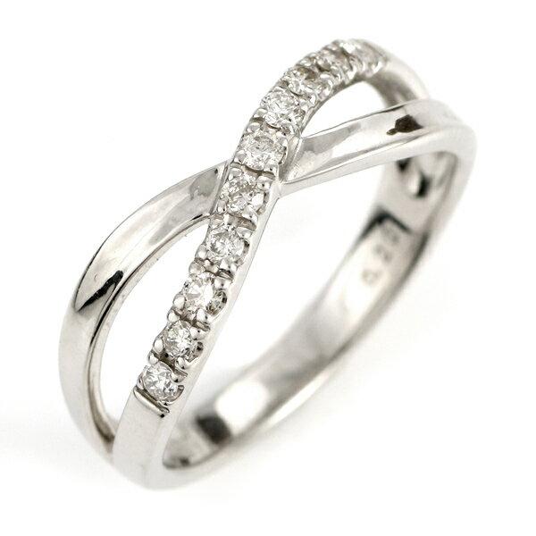 プラチナ ダイヤモンド エタニティ クロス リング 指輪 0.2カラット ウエーブ【楽ギフ_包装】