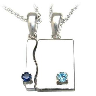 (September .11 moon stone amulet for an easy delivery) a silver sapphire blue topaz pair pendant necklace