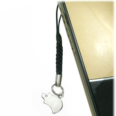 シルバー950・キュービックジルコニア入り携帯ストラップ(ぶた)【楽ギフ_包装】