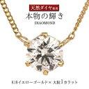 ネックレス 一粒 ダイヤモンド ネックレス K18イエローゴールド ダイヤモンドネックレス ダイヤモンド ダイヤ 1.0カラ…