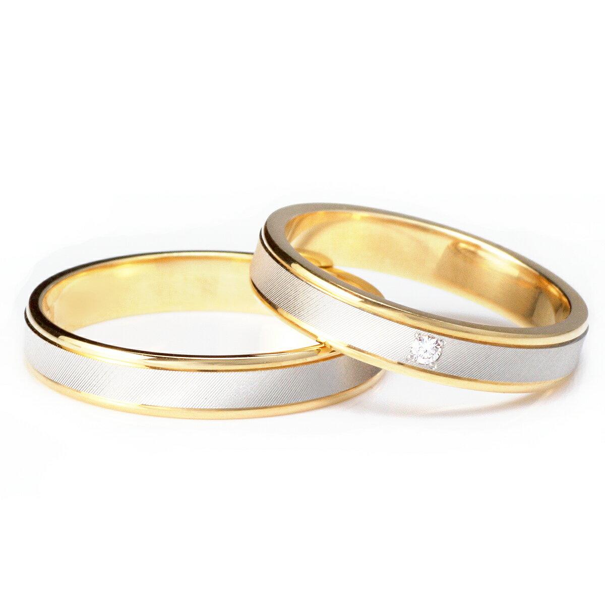 ゴールド プラチナ ダイヤモンド ペアリング シンプル 結婚指輪 マリッジリング 18金 2本セット 【楽ギフ_包装】