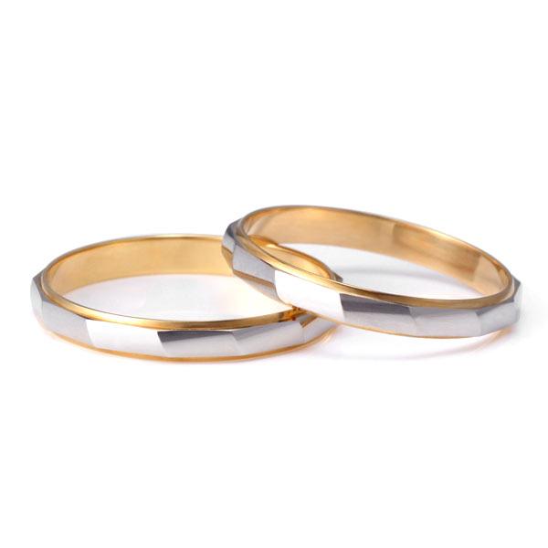 ペアリング シンプル 結婚指輪 マリッジリング ペアリング プラチナ ゴールド 2本セット 【楽ギフ_包装】