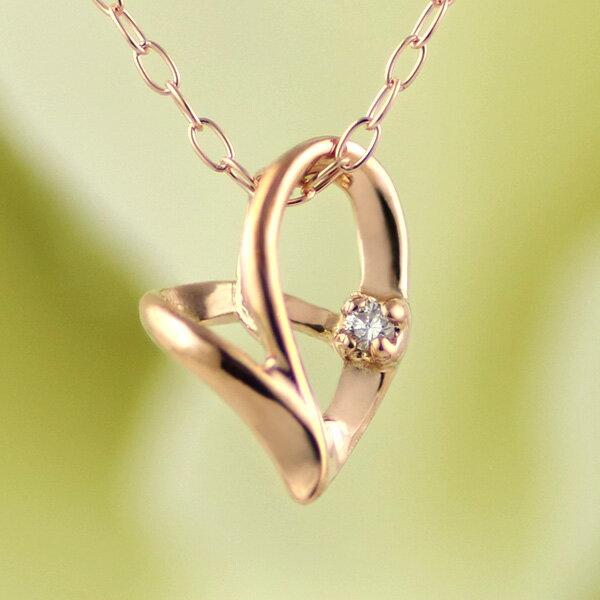 ダイヤモンドネックレス ネックレス レディース ハート ダイヤ ダイヤネックレス ピンクゴールド オープン プレゼント ギフト