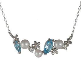 【楽天スーパーSALE】お花 あこや真珠 パール ダイヤモンド ブルートパーズ ネックレス 18金 K18 18k ネックレス【楽ギフ_包装】【DEAL】