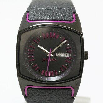 柴油 (柴油) DZ 5166 石英 SS × 皮革黑 / 紫色黑色表盘