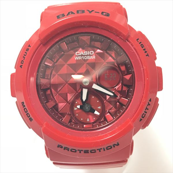 BABY-G(ベビージー) BGA-195M アナログデジタル文字盤 ウレタン クォーツ レディース 赤 レッド 【中古】 腕時計 netshop