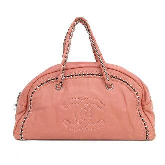 CHANEL(香奈爾)奢華鏈子寬底旅行皮包大量粉紅×銀子金屬零件皮革netshop