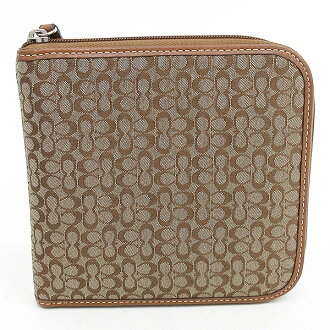 COACH (coach) mini-signature CD case tea brown canvas X leather netshop