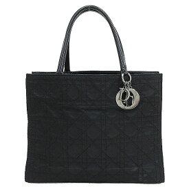 Christian Dior(クリスチャン・ディオール) カナージュ トート ハンドバッグ 黒 ブラック ナイロン×レザー【ブランドバッグ】 【中古】 netshop