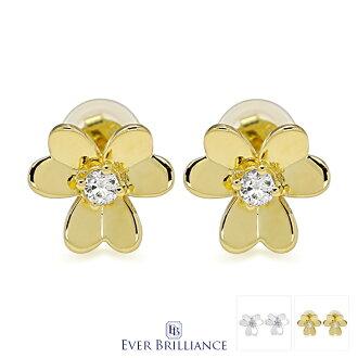 Swarovski zirconia heart flower pierced earrings (lady's clover flower flower motif Swarovski necklace SWAROVSKI birthday present woman she wife jewelry platinum gold K18 18-karat gold allergy to metal memorial day)