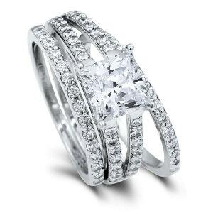 1.96カラット プリンセスカット 3連 セット リング( 指輪 レディース プラチナ リング キュービックジルコニア ジルコニア 誕生日 プレゼント ジュエリー 一粒 女性 40代 婚約指輪 50代 結婚記