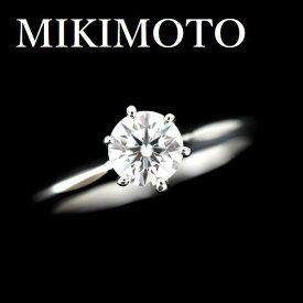 ミキモト ダイヤモンド 0.56ct F-VS2-3EX リング Pt950【中古】