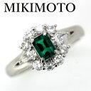 【定価70万】ミキモト エメラルド 0.39ct ダイヤモンド 0.59ct リング Pt900【中古】