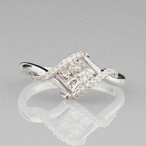 18金 ダイヤモンド 0.4ct 菱形 プリンセスカット ミステリーセッティング 0.40カラット 指輪 K18WG ホワイトゴールド ダイアモンド レディース プレゼント ギフト 記念日 誕生日 ご褒美