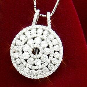 18金 ダイヤモンド1.5ct アンティークラウンドネックレス ペンダント 1.5カラット K18WG ホワイトゴールド ダイアモンド レディース プレゼント ギフト 記念日 誕生日