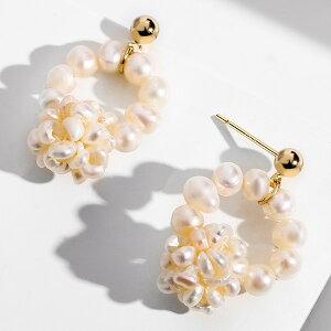 ピアス レディース 淡水パール 真珠 可愛い 揺れる 両耳 K18金RGP SILVER925 金属アレルギー対応