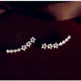 ピアス スワロフスキー スター 星 K18金RGP ゴールド プラチナ 可愛い 流れ星 レディースアクセサリー