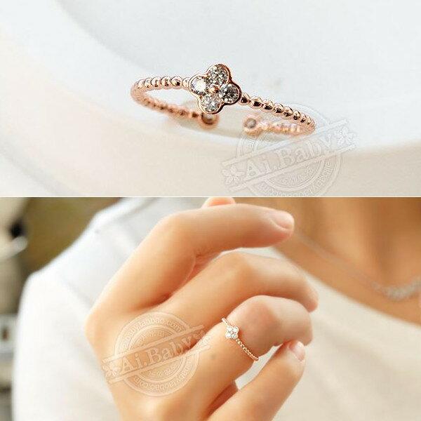 指輪 リング レディース 女性 スワロフスキー 四つ葉 2WAY ピンクゴールド K18金RGP 3号〜17号 フリーサイズ